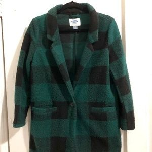 Green buffalo plaid fleece jacket small